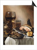 A Breakfast Still Life of a Roemer Ham and Meat on Pewter Plates, Bread and a Gold Verge Watch on… Prints by Pieter Claesz