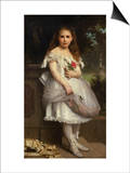 Portrait of Anna Mounteney Jephson, Full Length, Wearing a White Dress on an Terrace Posters by William Adolphe Bouguereau