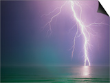 Lightning Storm over Ocean Prints by Peter Wilson