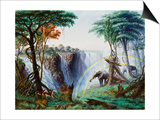 The Mosi-Oa-Tunya (The Smoke That Thunders) or Victoria Falls, Zambesi River Posters af Thomas Baines
