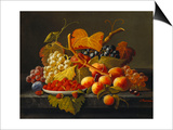 Still Life with Dish of Strawberries, Peaches and Grapes Print by Severin Roesen