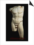 An Important Roman Marble Torso of the Diadumenos of Polykeitos Print