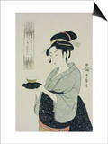 A Half Length Portrait of Naniwaya Okita, the Famous Teahouse Waitress Serving a Cup of Tea Prints by Kitagawa Utamaro