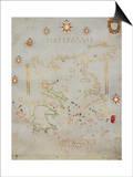 Portolan Chart of Greece, the Aegean and Western Turkey, Titled 'Archipelago De Compasso Largo' Poster by  Volcius (Vincentius Demetrius)