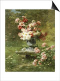 Peonies in an Urn in a Garden Art by Louis Lemaire
