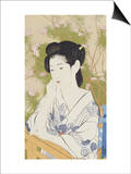 A Bust Portrait of a Young Woman Leaning on a Balcony Railing, Dated July 1920 Posters by Hashiguchi Goyo