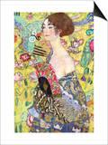 Dama con abanico Láminas por Gustav Klimt