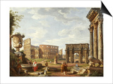 A Capriccio View of Rome with the Colosseum, the Arch of Constantine, 1743 Affiches par Giovanni Paolo Pannini