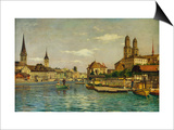 A View of Zurich with the River Limmat from the Quaibrucke Looking Towards the Fraumunstkirche,… Prints by Otto Pilny