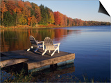 Adirondack Chairs on Dock at Lake Poster by Ralph Morsch