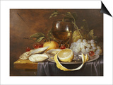 A Roemer, a Peeled Half Lemon on a Pewter Plate, Oysters, Cherries and an Orange on a Draped Table Posters af Joris Van Son