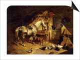 The Interior of a Stable with a Dapple Grey Horse, Ducks, Goats, and a Cockerel by a Manger Prints by John Frederick Herring I
