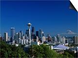 Seattle and Mount Rainier Art by Steven Vidler