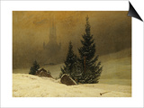 Winter Landscape with a Church Art by Caspar David Friedrich