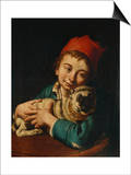 A Boy, Half Length, in a Blue Jacket and a Red Hat, Holding a Pug on a Cushion Print by Giacomo Ceruti