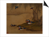 A Pair of Falcons. from an Album of Bird Paintings Posters by Gao Qipei
