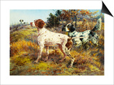 A German-Short Haired Pointer and Two Setters in a Landscape Art by Edmund Henry Osthaus
