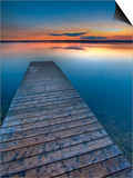 Sunset Over a Wooden Wharf on Lake Audy, Riding Mountain National Park, Manitoba, Canada Posters by Rolf Hicker