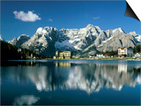 View of town, Lake Misurina, Alps, Italy Posters by Manfred Mehlig