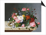 Still Life: Flowers on a Marble Topped Table Prints by Eugène Boudin