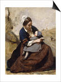 Breton Breastfeeding her Child Prints by Corot Jean Baptiste Camille