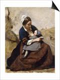 Breton Breastfeeding her Child Print by Corot Jean Baptiste Camille
