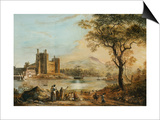 Caernarvon Castle, with a Harper in the Foreground Art by Paul Sandby