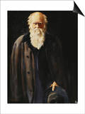 Portrait of Charles Darwin, standing three quarter length Prints by John Collier