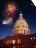 Fireworks over U.S. Capitol Print by Bill Ross