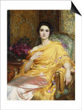 Portrait of Elsa, Daughter of William Hall, seated wearing a Pink Dress and Yellow Wrap Prints by Frank Bernard Dicksee