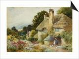 A Cottage at Selworthy, near Minehead Print by Arthur Claude Strachan