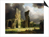 Glastonbury Abbey with the Tor Beyond Poster by Carl Frederic Aagaard