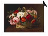 Roses in a Basket on a Ledge, 1838 Art by Johan Laurentz Jensen