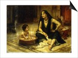 Fellahin and Child, The Bath Prints by Frederick Arthur Bridgman