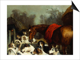 No Hunting Till the Weather Breaks' (Or 'Hunter and Hounds') Print by Edwin Henry Landseer