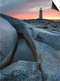 Peggy's Cove Lighthouse at Dusk, Peggy's Cove, Nova Scotia, Canada Posters by Darwin Wiggett