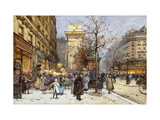 Figures on Le Boulevard St Prints by Eugene Galien-Laloue
