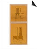 Design for Chairs Shown in Front and Side Elevation, 1903, for the Room de Luxe Poster by Charles Rennie Mackintosh