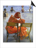 Girl in a Red Dress, Seated by a Swimming Pool Prints by Sir John Lavery