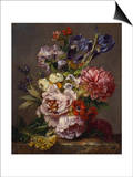 Irises, Peonies and Other Flowers in a Vase on a Ledge Print by Lodewijk Johannes Nooijen
