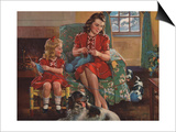 Calendar Illustration of Mother and Daughter Knitting by F. Sands Bruner Prints