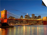 Brooklyn Bridge and East River Print by Alan Schein
