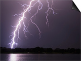Lightning Striking Ground Near Residential Lake Prints by Jim Reed