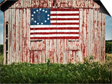 American flag painted on barn Print by  Owaki