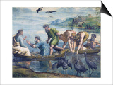Cartoon for The Miraculous Draught of Fishes Affiche par  Raphael