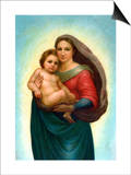 Postcard After Sistine Madonna Affiches par  Raphael