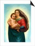 Postcard After Sistine Madonna Prints by  Raphael