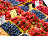 Jean Talon Market with Fresh Berries on Display, Montreal, Quebec, Canada Print by Chris Cheadle
