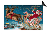 A Merry Christmas with Santa in His Sleigh Posters