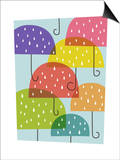 Raining umbrellas Art by Anne Bryant